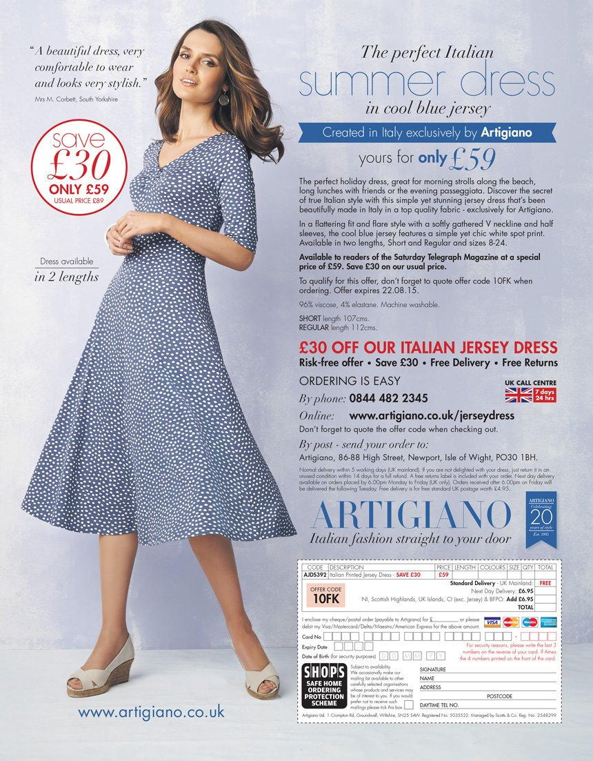 Artigiano Summer Dress advert