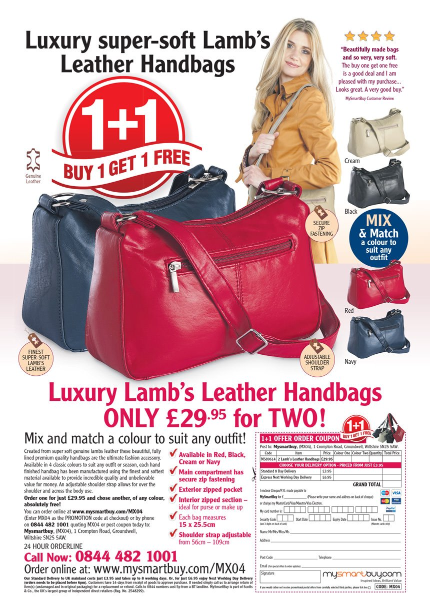 MySmartBuy Leather Handbag advert