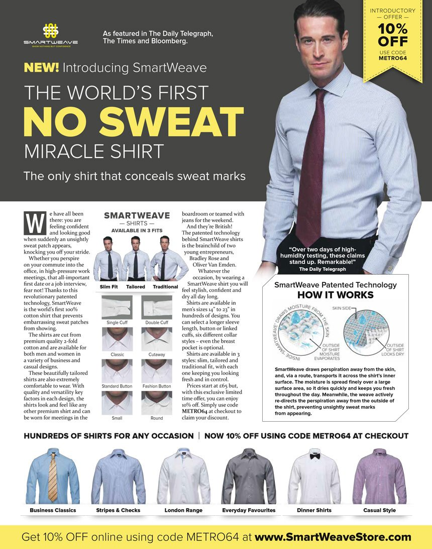 Smartweave No Sweat Shirt advert